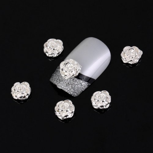 (JOVANA Silver Rose Flower 10 Pieces Silver 3d Alloy Nail Art Slices Glitters DIY Decorations)