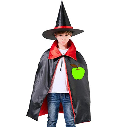 Kids Cloak Apple Green Food Wizard Witch Cap Hat Cape All Hallows'Day Costume Magician Halloween Party Boys DIY Prop