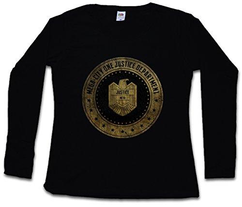 MEGA CITY ONE JUSTICE DEPT LOGO I DAMEN GIRLIE LANGARM T-SHIRT - Judge Comic Dredd Department Eagle Größe XS – 2XL