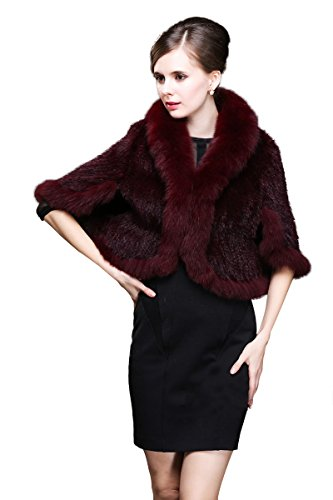 Top Fur Women Geniune Mink Fur Cape Shawl Stole Jacket with Fox Fur Collar(Wine) by Top Fur