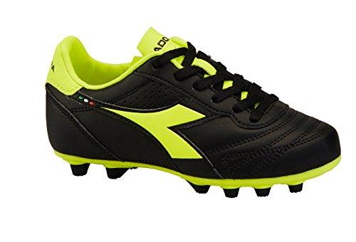 Diadora Soccer Unisex Brasil R MD PU Jr Sneaker, Black/Flou Yellow, 1.5 Medium US Little Kid