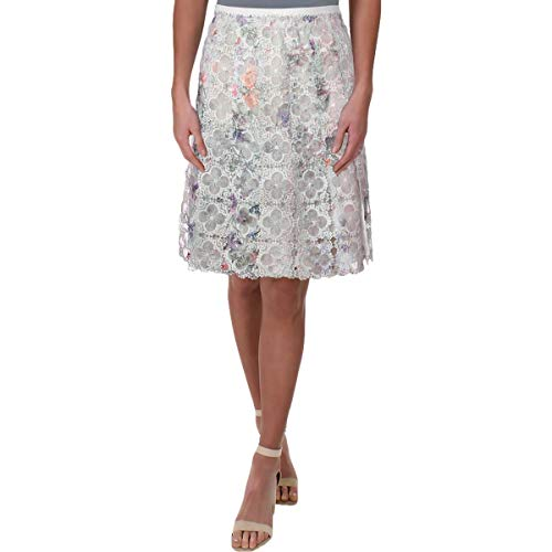 Elie Tahari Womens Lace Pleated A-Line Skirt Ivory 2