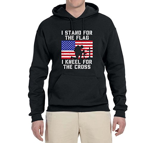 I Stand for The Flag I Kneel for The Cross   Mens Americana/American Pride Hooded Sweatshirt Graphic Hoodie, Black, Large ()