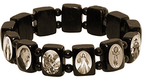 Catholica Shop Elasticated Small Black Wood Saints Bracelet by with Black & White | Assorted Catholic Images