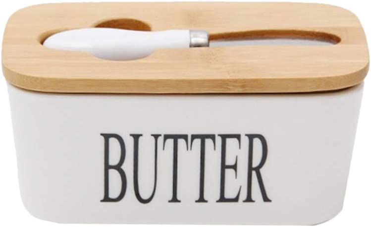 Hemoton Ceramic Butter Dish Nordic Style Butter Box Butter Keeper Container Food Storage Candy Box Baking Dish with Wood Lid Knife Letter for Kitchen Size S (White)