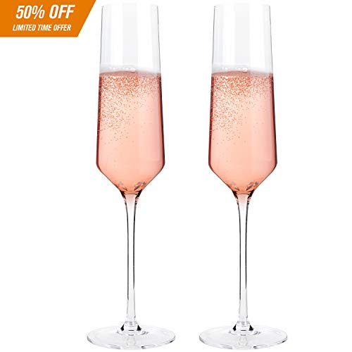 Classy Champagne Flutes by Bella Vino - Hand Blown Crystal Champagne Glasses Made from 100% Lead Free Premium Crystal Glass, Perfect for Any Occasion,Great Gift, 10'', 7 Oz, Set of 2, Clear by Bella Vino