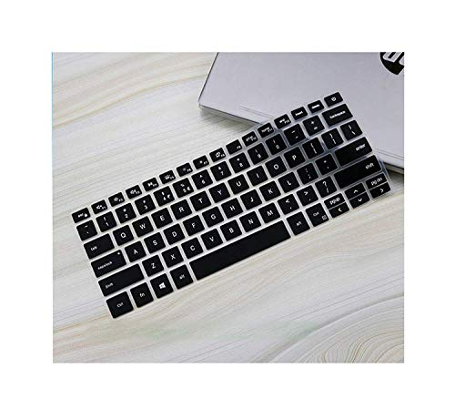 "Saco Keyboard Protector Silicone Skin Cover for 13.3"" Dell Inspiron 13 5390, Vostro 13 5390, Inspiron 13 7390 i7390 7391, Inspiron 14 5498 7490 Laptop - Black"