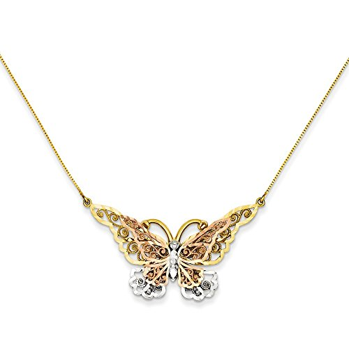 ICE CARATS 14k Yellow Rose Gold Butterfly Chain Necklace Animals/insect Fine Jewelry Gift For Women Heart by ICE CARATS (Image #4)