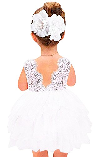 2Bunnies Girl Baby Girl Beaded Backless Lace Back Tutu Tulle Flower Girl Party Dress (White Short Sleeveless, (Girls Lace White Dress)