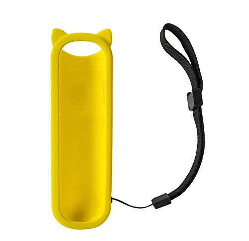 Yellow Cute Silicone Protective Soft Case Cover Compatible with for RC280 TCL ROKU TV Remote Control Anti Slip Dust-Proof with Wrist Strap Case only