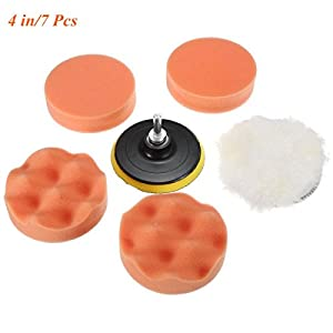 Dotesy 4 inch High Gross Wax Polishing Buffing Pad Kit Car Polishing Buffer Set with Drill Adapter for M10 Connector Drill (pack of 7)
