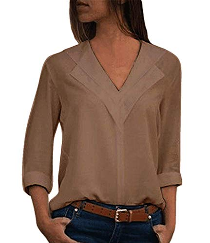 (Women Chiffon Blouses -Ladies Lapel V Neck Long Roll Sleeve Shirts Tops Tunics Khaki Plus Size)
