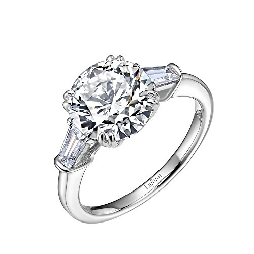 Lafonn Classic Sterling Silver Platinum Plated Lassire Simulated Diamond Ring (4.51 CTTW)
