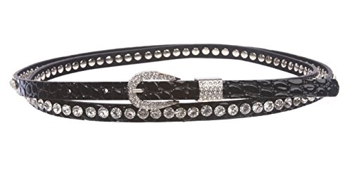 Rhinestone Croco Alligator Print Double Wrap Belt Size: M/L 34~36 Color: Black (Skinny Double Wrap)