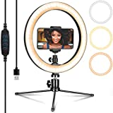 10 Inch Ring Light with Stand & Phone Holder for YouTube Video & Makeup, Dimmable Tabletop Led Ring Light for Live Streaming,3 Light Modes &10 Brightness Level.