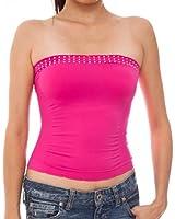 Ladies Fuchsia Pink Seamless Stone Set Tube Top