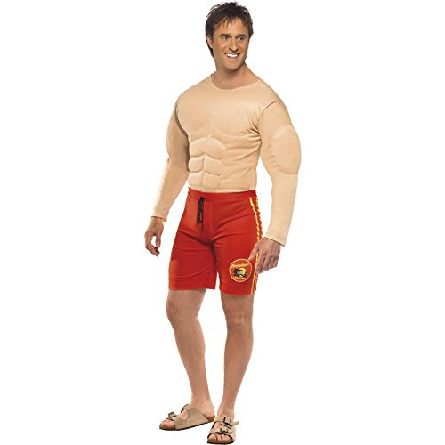 Smiffy's Men's Baywatch Lifeguard Costume, Muscle Chest and Attached Shorts, Baywatch, Serious Fun, Size M, 36584
