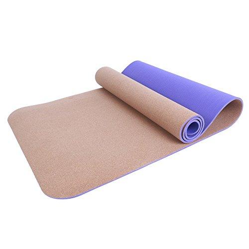 KEVIN Tapis De Yoga 6mm Tpe Liège Yoga Tapis Yoga Fournitures épaississement élargissement Débutant Tapis De Yoga Universel,Purple