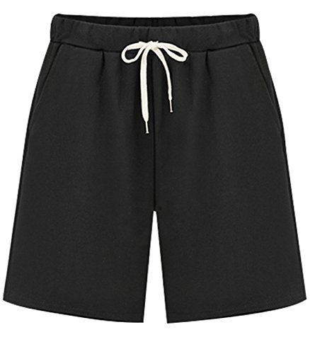 - HOW'ON Women's Soft Knit Elastic Waist Jersey Casual Bermuda Shorts with Drawstring Black XL