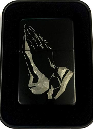 Praying Hands Christian Prayer Bible Black Engraved Cigarette Lighter LEN-0207