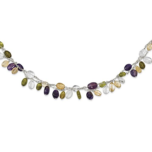 ICE CARATS 925 Sterling Silver Amethyst/citrine/peridot/rock Quartz 2 Strand Inch Extension Chain Necklace Natural Stone Fine Jewelry Gift Set For Women Heart by ICE CARATS