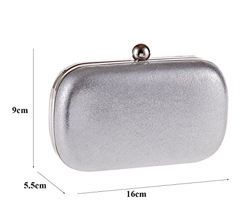 PU BAG PARTY nbsp;CLUTCH 5cm Silver 16X9X5 WEDDING CLIPFRAME HARDCASE COCKTAIl rqvwrS