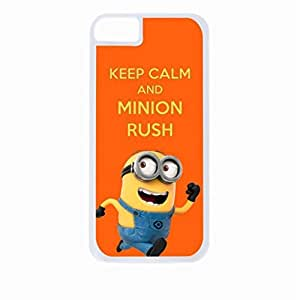 linJUN FENGKeep Calm and Minion Rush- Hard White Plastic Snap - On Case-Apple Iphone 5 - 5s - Great Quality!