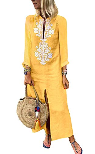 Yellow Linen Size V amp; Loose Neckline Cotton Solid Asskdan Dress Long Casual Kaftan Women's Plus Long Sleeve Dress Sleeveless Boho xRY4HwCq