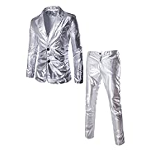 Louis Rouse Men's Metallic Shiny Casual Blazer Jacket And Pants Suit