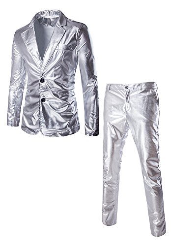 [JKQA Men's Metallic Slim Fit Casual Blazer Jacket 2 Piece Outfit Suit (XL, Silver)] (Suicide Bomber Vest Costume)