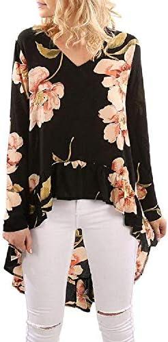 VECDY Camisa De Manga Larga con Estampado Floral De Mujer Camisa Casual con Volantes Top Irregular: Amazon.es: Ropa y accesorios