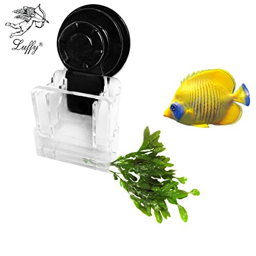 SunGrow Aquarium Clip – Ideal for Feeding Grazing Fishes - Holds Veggies, Algae, Seaweed Sheets, Betta Bed, Feeding Accessories – Plastic, No Metal Parts – 100% Fish Safe - Depth Slide