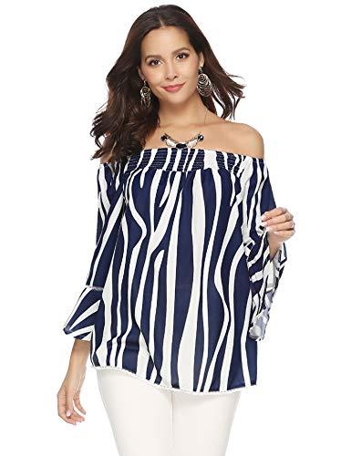 (Aibrou Off Shoulder Tops for Women 3/4 Sleeve Elegant Shirts Blouses (Navy Stripe, XL))