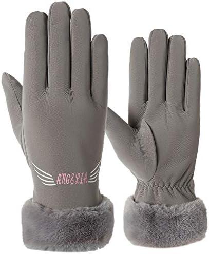 BTXXYJP 手袋女性の冬の暖かいプラスベルベット太い防水タッチスクリーン手袋屋外手袋 (Color : グレー, Size : One Size)