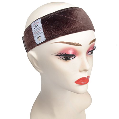 (GEX Beauty Flexible Velvet Wig Grip Scarf Head Hair Band Wig Band Adjustable Fastern (Brown))