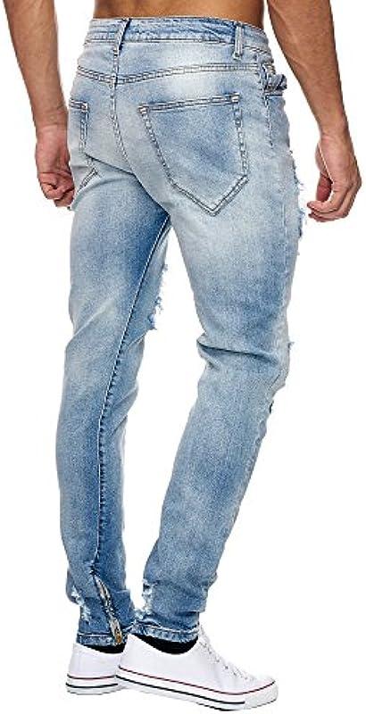Megastyl spodnie męskie ripped jeansy lodowy niebieski slim fit stretch Denim: Odzież