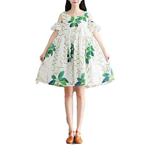 Art Print Round Neck Short Sleeve Dress Female Fresh Thin - 1930s Print Art