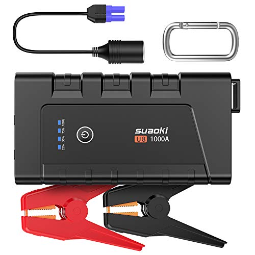 SUAOKI Car Jump Starter-1000A Peak 12000mAh, 12V Auto Battery Booster(up to 7.0L Gas and 5.5L Diesel Engine), Portable Power Pack with Type-C and USB 3.0 Quick Charge, Smart Battery Clamps
