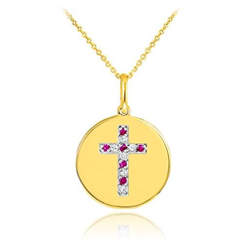 14 ct 585/1000 Or Croix Diamant et Rubis-Disc-Pendentif Collier