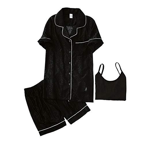Elhogar Pijamas Mujer nbsp; De Solapa Tamaño Para Corta Mmllse Debotón Conjunto Grande Cortos Black nbsp; Manga nbsp;pantalones 7w4Fxq4US