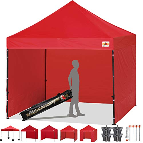 ABCCANOPY 18+Colors 8ft by 8ft Ez Pop up Canopy Tent Commercial Instant Gazebos with 4 Removable Sides and Roller Bag and 4X Weight Bag (White)