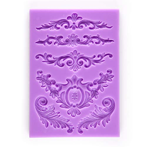 Tasty Molds Baroque Vintage Curlicues Scroll Lace Fondant Silicone Mold High Definition Quality Cupcake DIY Birthday Topper Cake Border Decoration Wedding Party Tool for Sugarcraft, Polymer Clay ()