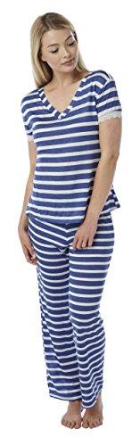 Mujer Viscosa pijama PJ bajo camiseta de manga corta para mujer (cuello en V Loose Verano Gris elastano. Tamaño 101214161820 Royal Blue w Marl Striped Viscose