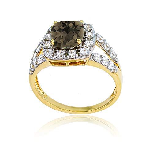 (Sterling Silver Yellow 7mm Cushion Smokey Quartz & 2mm Round Created White Sapphire Ring)