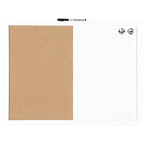 Quartet Dry Erase Board/Cork Board, Magnetic, 17'' x 23'', Curved Frame, White (41723-WT) by Quartet