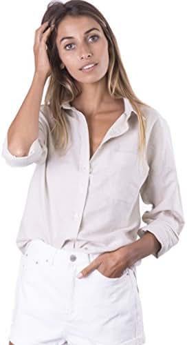 CAMIXA Women's Natural Cool Linen Button-Down Loose Shirt | Summer Winter Casual Chic