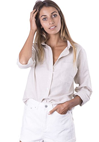 CAMIXA Women's Natural Cool Linen Button-Down Loose Shirt | Summer Winter Casual Chic L Desert