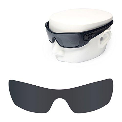 OOWLIT Replacement Sunglass Lenses for Oakley Batwolf Black Dark Grey - Polarized Black Iridium Batwolf