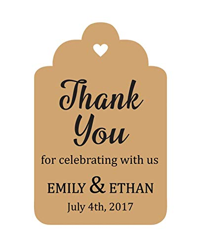 100 PCS Personalized Paper Tags Thank You For Celebrating Custom Wedding Favor Hang Tags -