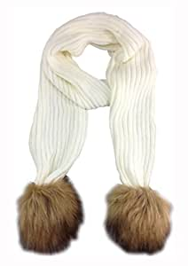 Nuevo estilo de punto elástico pelo Pom bufanda color blanco